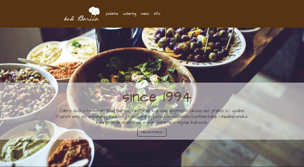 Web stranica Restoran kod Barića