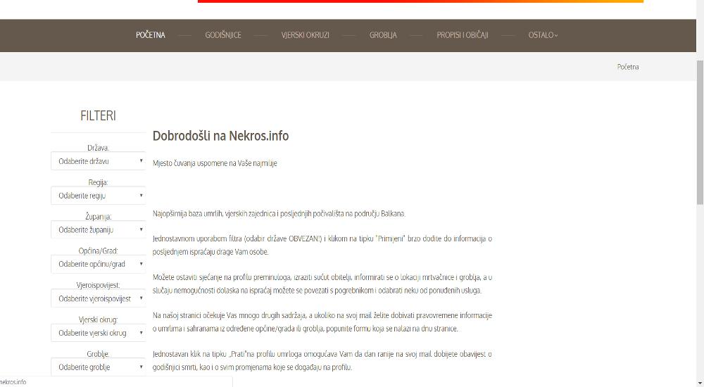 Web aplikacija NEKROS